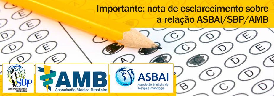 Importante: nota de esclarecimento sobre a rela��o ASBAI/SBP/AMB